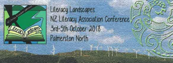 """Literacy Landscapes"" - NZ Literacy Association Conference 2018 logo"