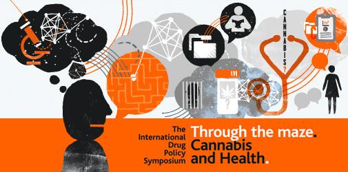 2013 International Drug Policy Symposium. Through the maze: Cannabis and Health logo