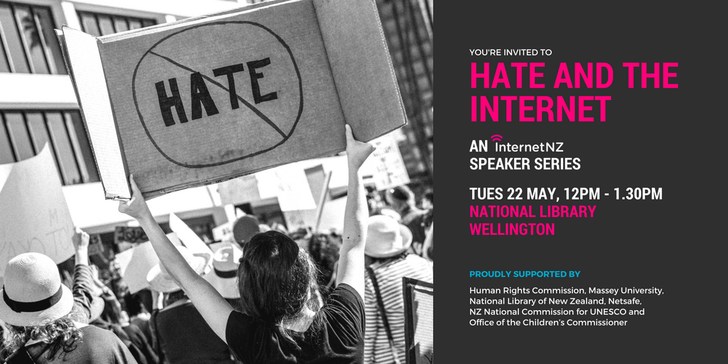 Hate and the Internet - an InternetNZ Speaker Series logo