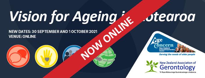 """""""Vision for Ageing in Aotearoa"""", 30 September - 1 October 2021 logo"""